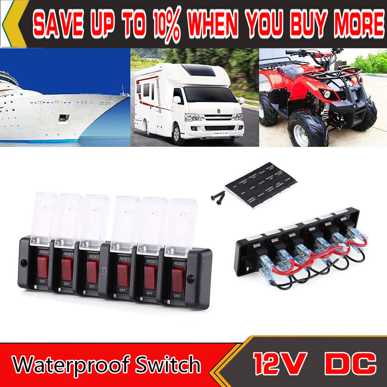 hight resolution of 6 groups car boat switch marine panel waterproof circuit breaker fuse dc 12v 16a