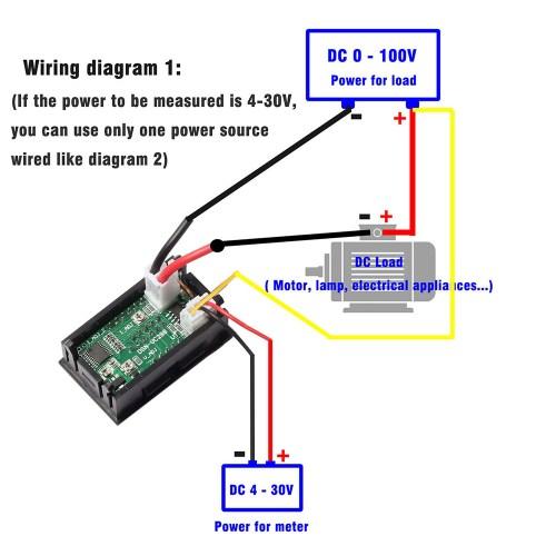 small resolution of mini dc 100v 10a digital voltmeter ammeter blue red led volt amp meter gauge us