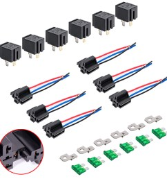 12v dc 40 30 amp 4 pin automotive relay harness set switch fuse 6 pack [ 1000 x 1000 Pixel ]