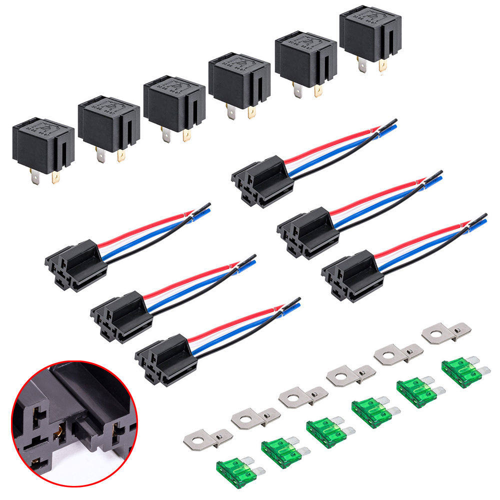 medium resolution of 12v dc 40 30 amp 4 pin automotive relay harness set switch fuse 6 pack