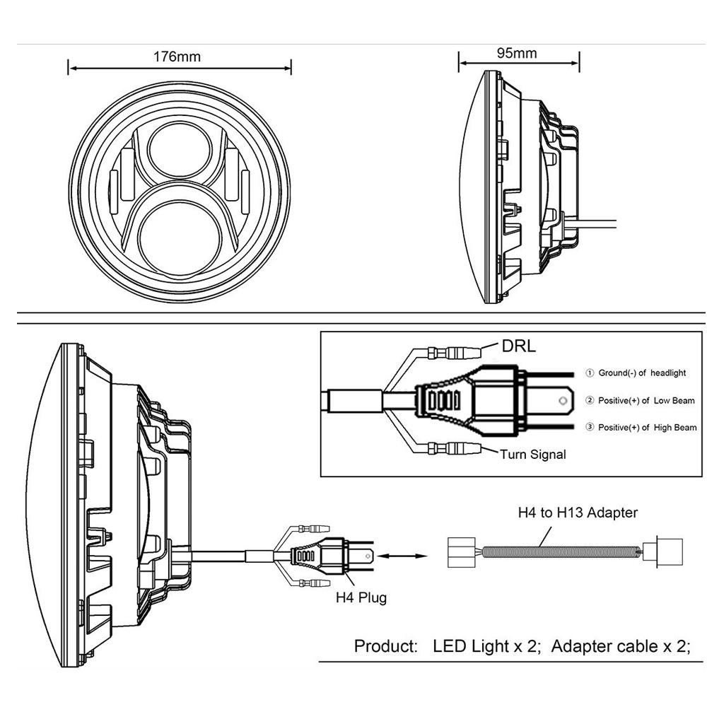 hight resolution of for freightliner coronado 7 led headlights 6014 6015 h6017 h6024 h4 h13 2pcs