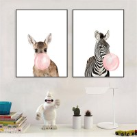 Animal Koala Giraffe Zebra Canvas Poster Nursery Wall Art
