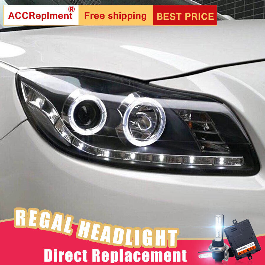 medium resolution of details about 2pcs for buick regal headlights assembly bi xenon lens projector led drl 11 13