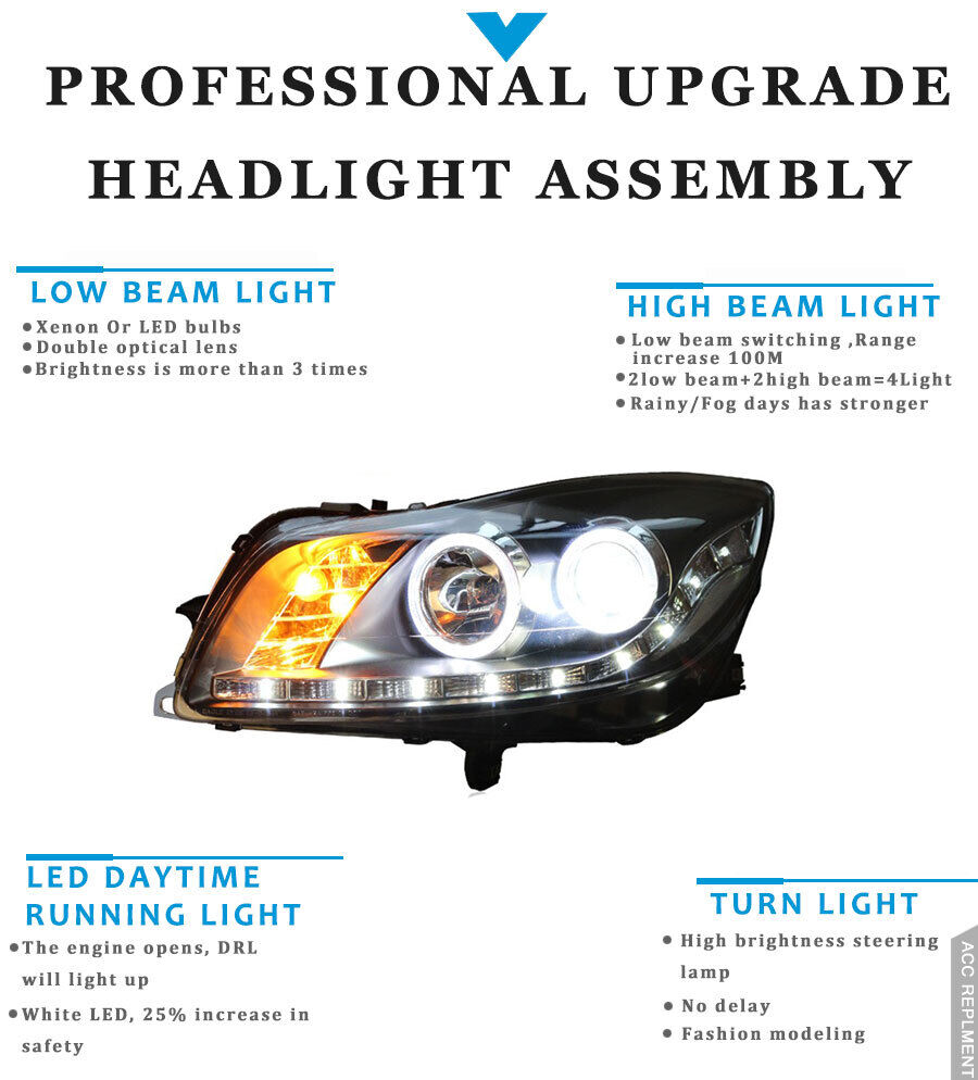 medium resolution of 2pcs for buick regal headlights assembly bi xenon lens projector led drl 11 13