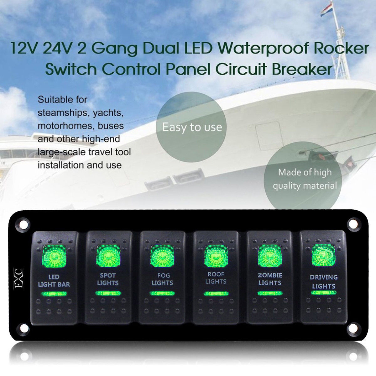 hight resolution of details about green car marine boat 6 gang waterproof circuit led rocker switch panel breakers