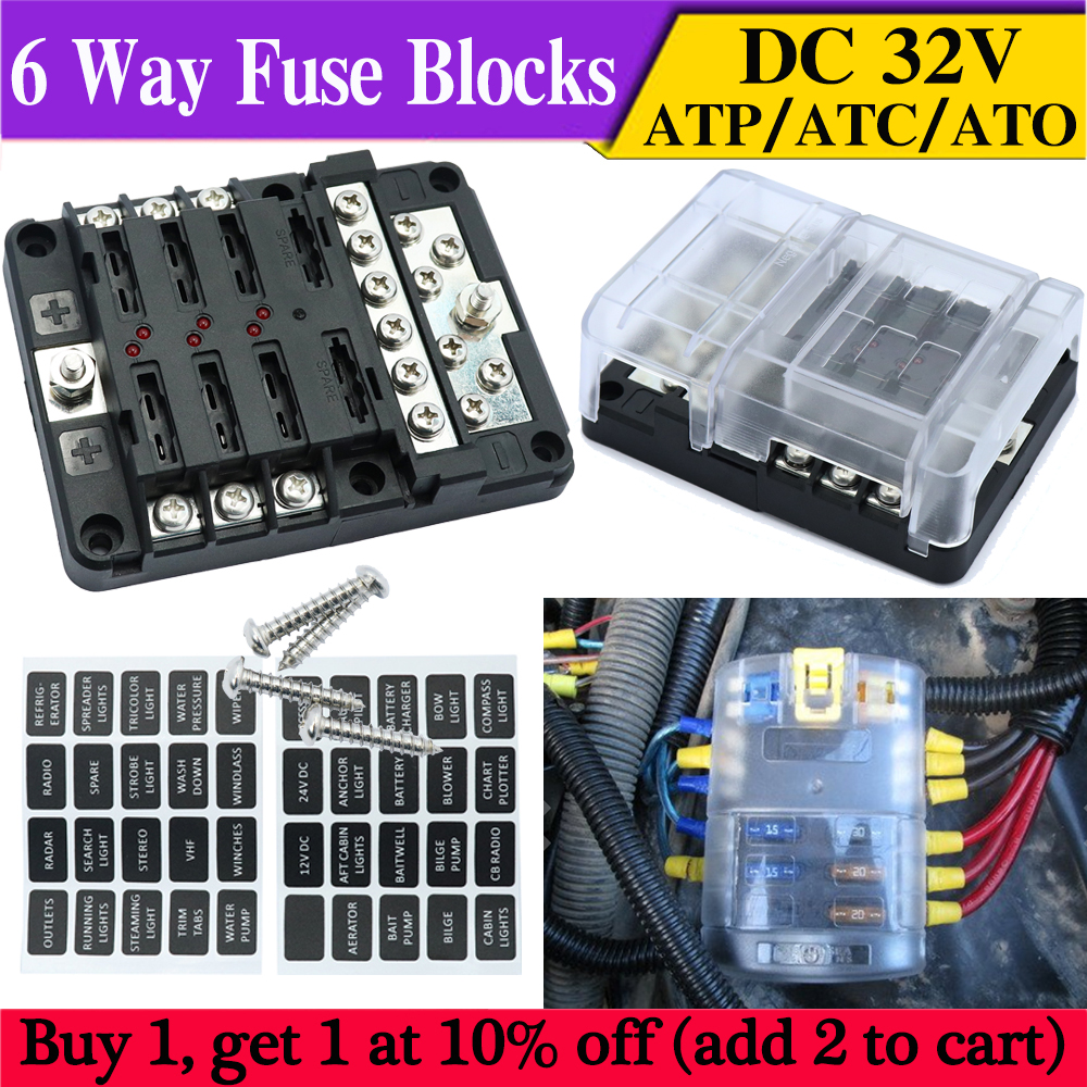 hight resolution of details about 6 way car auto boat bus rv utv blade fuse box block cover 32v with led indicator