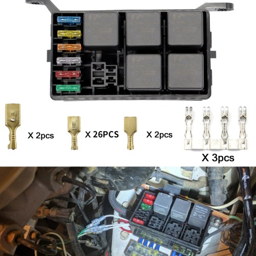 small resolution of universal off road car truck insurance 6 way blade fuse relay holder box socket