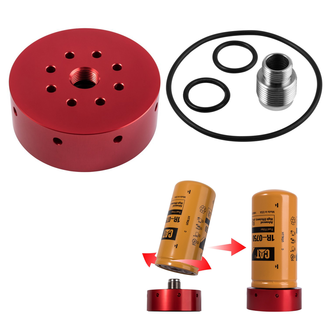 hight resolution of details about red fuel filter adapter kit for chevy gmc duramax diesel lb7 lly lbz lmm lml b