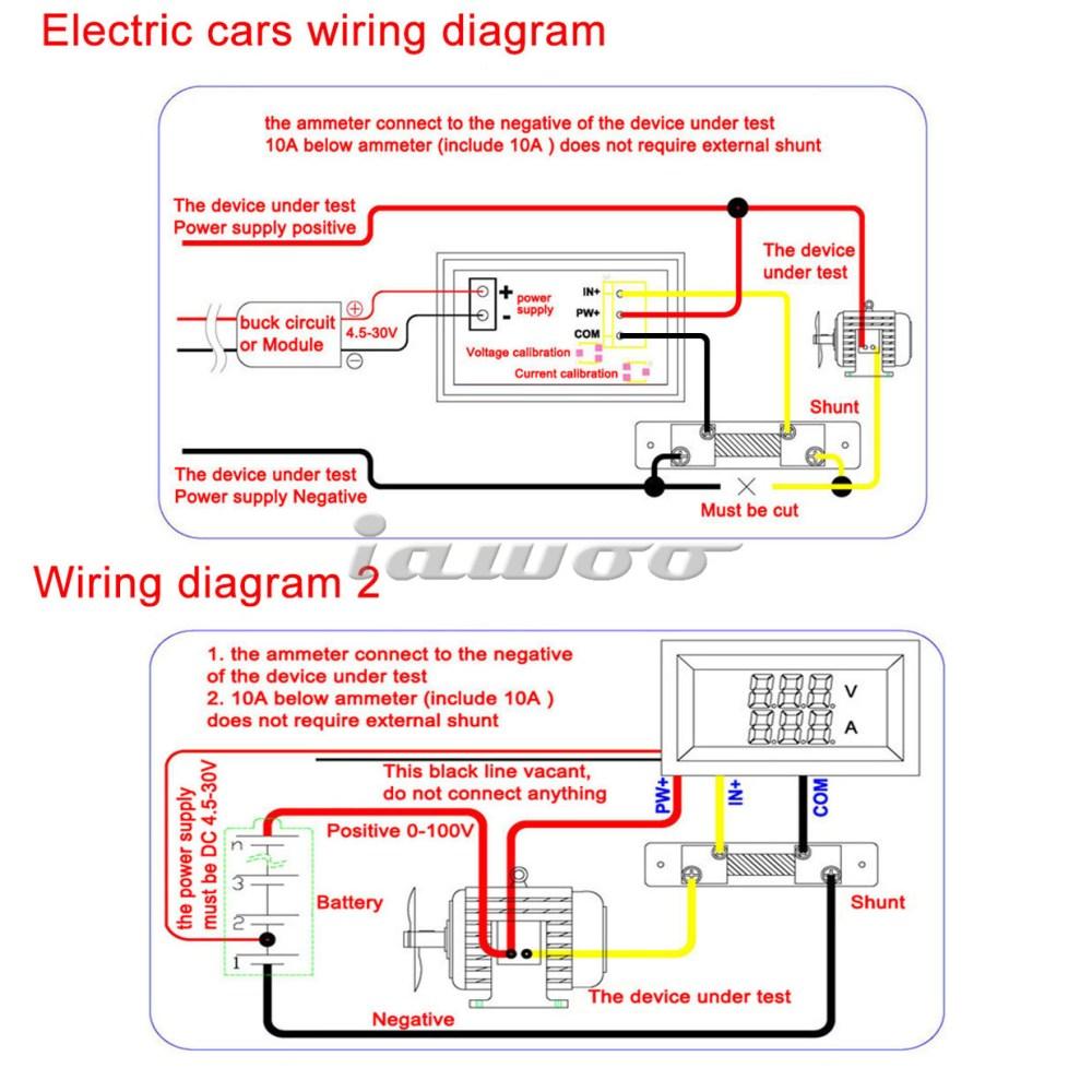 medium resolution of red blue led yb27va 0 100v 10a motorcycle digital dc amp meter volt gauge ammeter and voltmeter 2 in 1 100014
