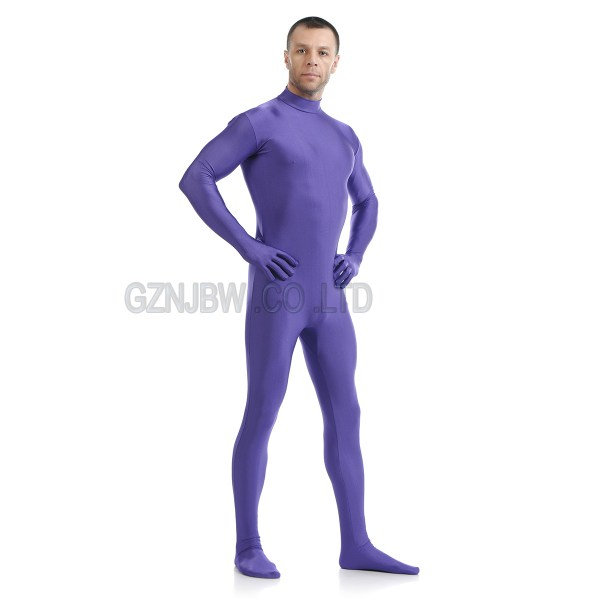 Men Lycra Headless Purple Skin Zentai Costumes Hallowen