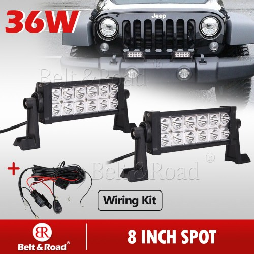 small resolution of details about 2x 8inch cree 36w led light bar work spot off road driving suv with wire harness