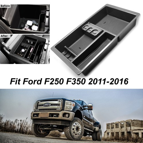 small resolution of for 2011 2016 ford super duty f250 f350 car console storage box organizer tray
