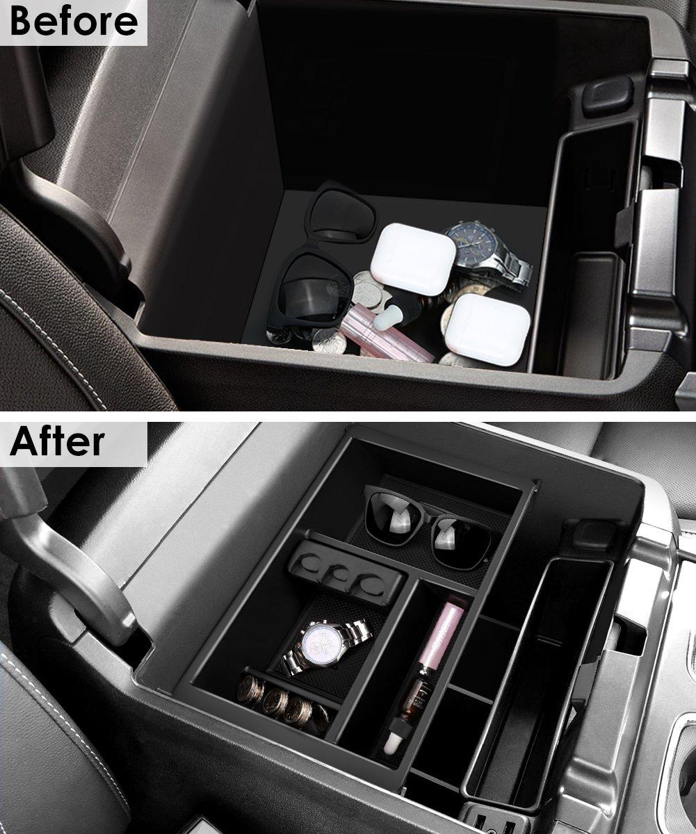 hight resolution of for 2011 2016 ford super duty f250 f350 car console storage box organizer tray