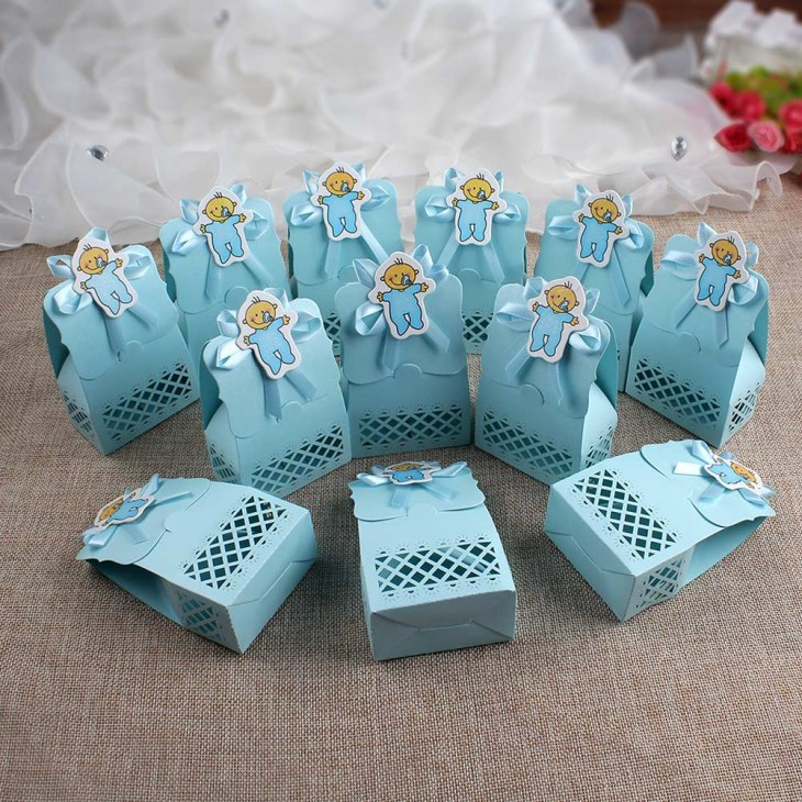 Details about 12PCS Laser Cut Baby Shower Gift Favor Boy 1st Birthday Party  Sweet Candy Boxes