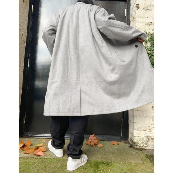 コリュージョン コート faux メンズ コート アウター COLLUSION oversized faux wool oversized overcoat in gray Grey:astyコリ ...