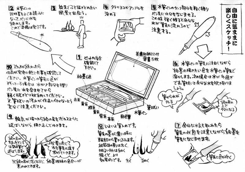 eWAZAKKA: A sumi drawing black-and-white drawing set / a