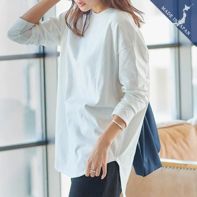 【MadeInJAPAN】選べるネックコットンTシャツ [C4455]【入荷済】 レディース トップス カットソー ロンT 綿100% 日本製 インナー