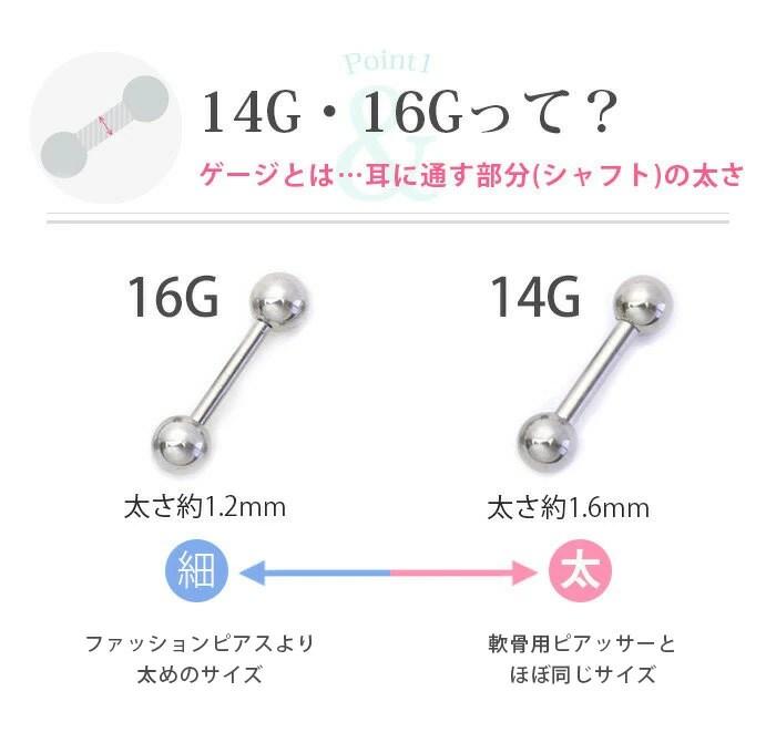 body piercing 14g shaft