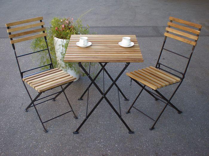 folding chair nepal retro rocker select tool shop | rakuten global market: iron teak table and 2 chairs 3 piece set ...