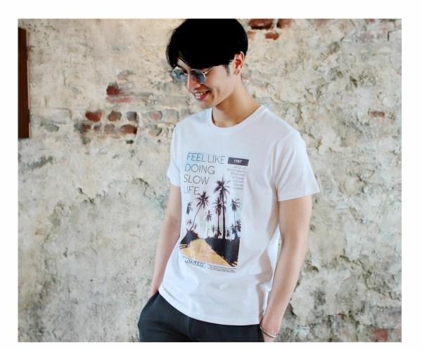 Tシャツ メンズ「FEEL LIKE DOING SLOW LIFE」O柄