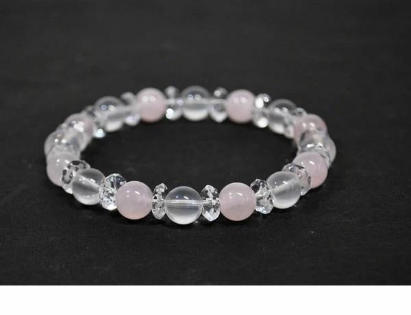 natural stone shop Larimar: 乳白石英 AAA 玫瑰石英 AA x 水晶 水晶石英   紅水晶   8 毫米 ()   日本樂天市場