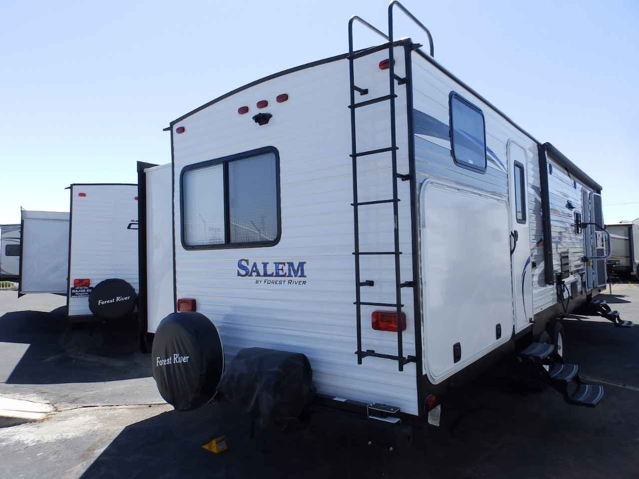 travel trailers with rear kitchen stainless steel tables 2018 new forest river salem 32bhds 2 slides exterior