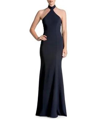 Taylor Halter Top Crepe Bodycon Gown
