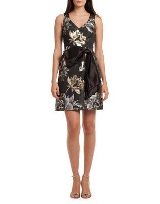 Taylor Metallic Floral A-Line Dress