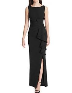 Quick view eliza  ruffle slit gown also women   clothing plus size petite more lord rh lordandtaylor