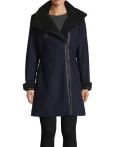 Calvin klein classic faux fur trimmed coat also shop all women   clothing lord taylor rh lordandtaylor