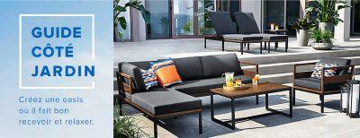 mobilier de detente moderne avec chaises longues canape et fauteuil assortis table basse en