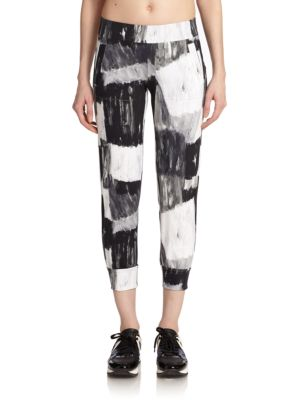 Abstract-Print Cropped Leggings