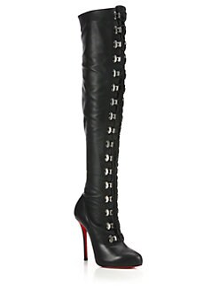 Christian Louboutin - Leather Over-The-Knee Corset Boots