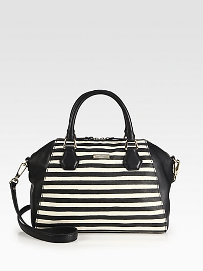 Kate Spade Catherine Pippa Striped Mixed-Media Satchel black and white
