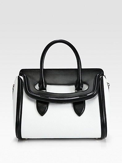 Alexander McQueen Heroine Small Colorblock Satchel Black and White