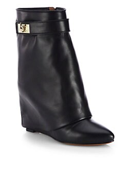 Givenchy - Leather Mid-Calf Wedge Sheath Boots