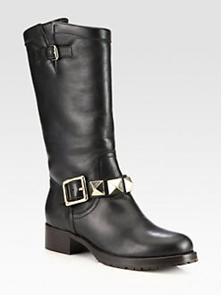 Valentino - Rockstud Leather Biker Boots