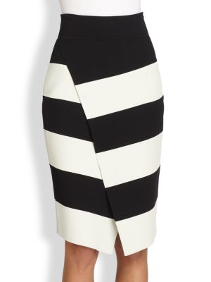 Campbell Striped Wrap-Effect Skirt