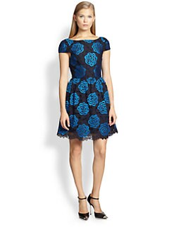 Alice + Olivia - Nelly Embroidered V-Back Dress