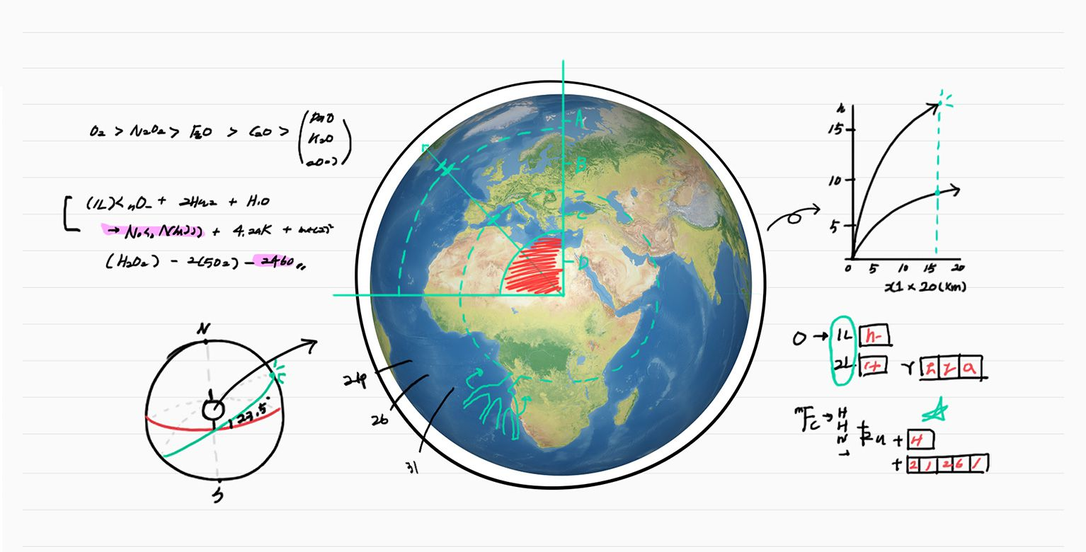 hight resolution of illustrated image of math notes surrounding a picture of a globe