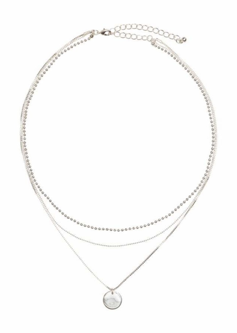 H M Triple Strand Necklace Silver Colored Women