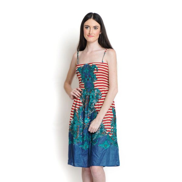 Red And Blue 100 Cotton Sundress With Elastic Waist Band