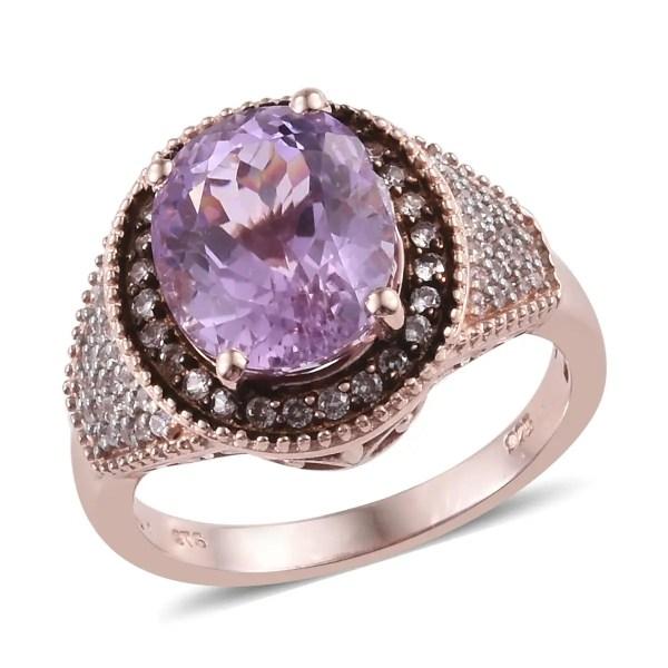 Aaa Premium Martha Rocha Kunzite Multi Gemstone Cocktail Ring In Vermeil Rg Over Sterling
