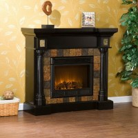 New Black Electric Fireplace with Slate Tile Surround for ...