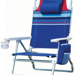 Beach Chair Pillow With Strap Bye Baby High Chairs New Folding Blue Striped Portable Outdoor Pool