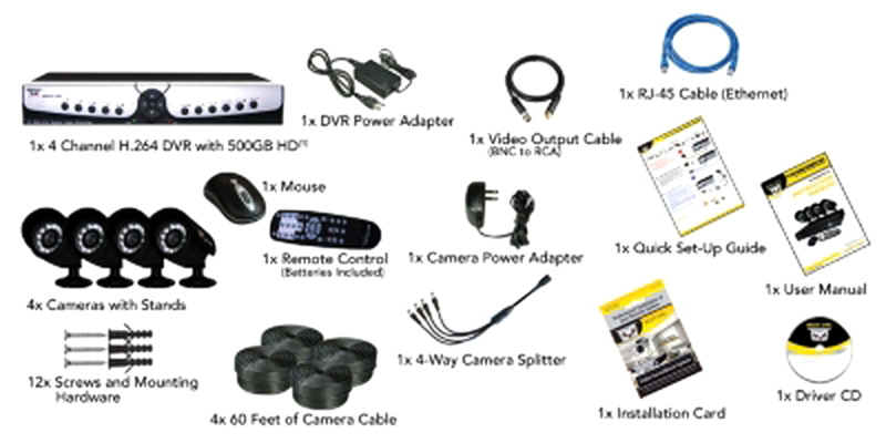 New 4 Camera Surveillance Security System Indoor Outdoor
