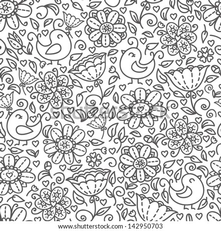 Outline Of Floral Pattern Cute Doodle Floral Seamless