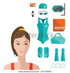 Flat elements of fitness and woman face Vector flat icon of swimming pool Fitness elements Vector fitness set Fitness woman set Vector flat design of fitness Fitness details Stock Images Page