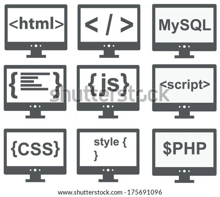 Vector Collection Of Web Development Icons: Html, Css, Tag