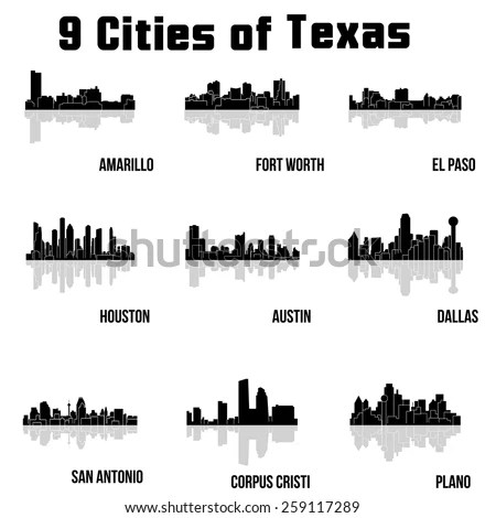 Set of Biggest American cities vector… Stock Photo